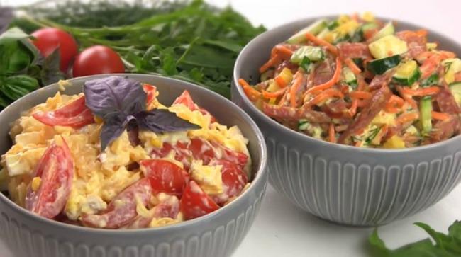 Два м'ясних салати на швидку руку! Швидка закуска для гостей!